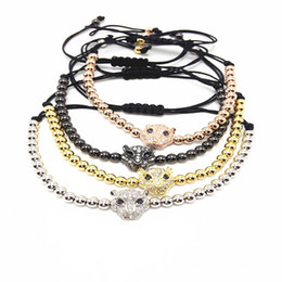 Wholesale 18k Gold Plated Leopard Bangle - Men Micro Pave CZ Copper Leopard Head Charm Bangle & 4MM Titanium Steel Beads Braiding Macrame Bracelets