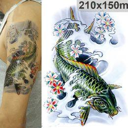 Wholesale High Resolution Designs - 3D Large Big Tatoo Sticker Sketch Green Fish Drawing Designs Cool Temporary Tattoo Stickers High Resolution 21*15cm