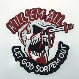 Wholesale clothing patches wholesale - Evil Skull Embroidered Iron On Clothing Kill'EM All Patch Biker Jacket Patch Applique Embroidery Motor Patch Free Shipping