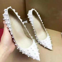 Wholesale Pointed High Heel For Women - 2017 New Genuine Leather Red Bottoms Heels for Womem Wedding Party Dress Shoes,Luxury Brand Christian High-Heeled Shoes WIth Box