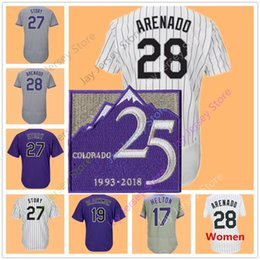 Wholesale Man Kids - Nolan Arenado Jersey 25 25TH season Patch Todd Helton Charlie Blackmon Trevor Story Colorado Jerseys White Pinstripe Men Women Youth Kid