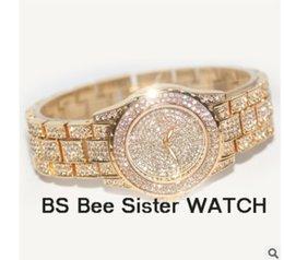 Wholesale Tungsten Diamond Watches - Women Stylish Famous Brand Full Diamond Luxury Women Watch Lady Dress Watch Rhinestone Bling Crystal Bangle Watches Female