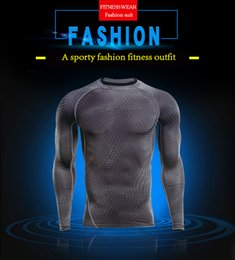 Wholesale Winter Running Shirts - Men Tight Training Sports Fitness Running Long Sleeve Tops Warming Quick Dry Winter Breathable Leisure Fitness T-Shirts