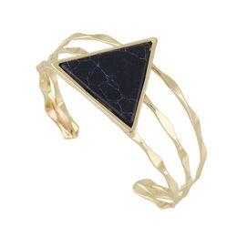 Wholesale Turquoise Design Bracelets - New Design Triangle Imitation Turquoise Wide Cuff Bangles Bracelets