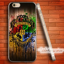 Wholesale Iphone Harry Potter - Coque Harry Potter Badge Wood Pattern Soft Clear TPU Case for iPhone 6 6S 7 Plus 5S SE 5 5C 4S 4 Case Silicone Cover.