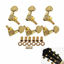 Wholesale Guitar Tuning Buttons - 6pcs set 3R3L Guitar String Tuning Peg Guitar Machine Heads Tuners Semicircle Button for Electric Acoustic Guitar Parts Accessories