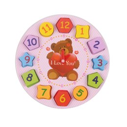 Wholesale Toy Clocks - Kids Toys Wooden Blocks Clown Bear Digital Geometry Clock Children Educational Toy For Baby Boy and Girl Gift