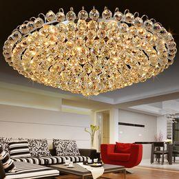 Wholesale European Led Crystal Chandeliers - LED ceiling chandeliers European American luxury noble fancy high end K9 crystal chandelier hotel lobby stairs villa led chandeliers lights