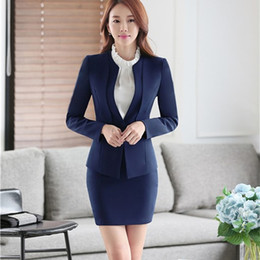 Wholesale Suit Elegant Ladies - New Elegant Fashion Female Skirt Suits for Women Work Wear Blazer And Skirts For Ladies Office Uniforms