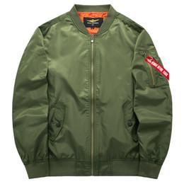 Wholesale Mens Casual Jackets Army Green - 2017 Spring Autumn Mens Solid Flight Army Green Bomber Jacket Men's Rib Sleeve Zipper Short Air Force Baseball Coats Clothing