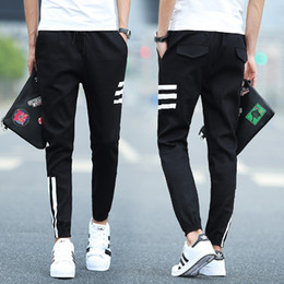 Wholesale Free Gym Workouts - 2017 Men Capris Striped Trousers Sports Gym Pants Casual Elastic cotton Mens Fitness Workout Pants skinny,Sweatpants Trousers Jogger Pants