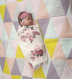 Wholesale Newborn Babies Sleeping Bags - Newborn swaddle Infant baby floral printed towel swaddle blanket+bow hair bands 2pc sets INS babies sleeping bag baby blanket T0424