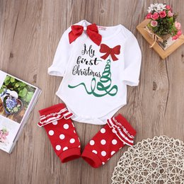 Wholesale Shose Girls - Merry First Christmas Baby Romper Suit Tree Red Bowknot Outfit Ruffles Dot Shose Kid Clothing Baby Boy Girl Winter Clothes Factory0-24M XMAS