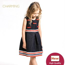 Wholesale Children S Wedding Gowns - Brand new dress elegant Designer children s clothing Quality printed round neck sleeveless dress Best wholesale suppliers from china