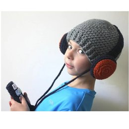 Wholesale Crochet Gifts For Girls - Children Wool Cap Hand woven Headset Shape Knit Cap Baby Boys Girls Warm Knitted Wool Winter Hat for Children Festival Gift free shipping