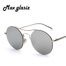 8267bc2df1 Wholesale-Metal retro round frame sunglasses 2016 Hisper fashion face 5  color reflective sunglass women mirror Couple men eyewear