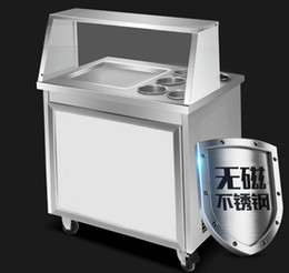 Wholesale Icing Store - New type 220v 110v commercial fried ice cream machine single U freezing pan 35cm pan 5 store box with topping glass cover R410a fry ice pan