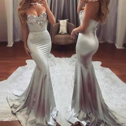 Wholesale taffeta mermaid prom dresses - Fabulous Silver Gray Mermaid Evening Dresses 2017 Chic Sweetheart Beadings Long Party Prom Gowns Custom Made