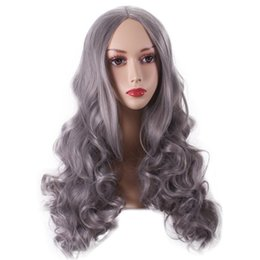 Wholesale Cosplay Grey Hair - Cosplay Hair Granny Grey Women Wigs Lolita Cartoon Long Body Wave Side Bang Heat Resistant Wigs
