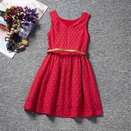Wholesale Little Girls Formal Dresses Wholesale - 2017 Red Full Lace Crew Neck Sleeveless Girl's Dresses With Sash Fashion Summer Little Girls Dresses Formal Wear MC0707