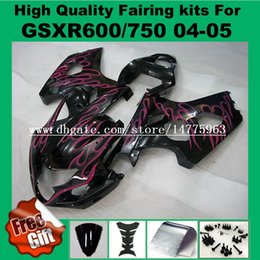 Wholesale Gsxr Fairing Purple - Injection Molding fairings for SUZUKI GSXR600 GSXR750 2004 2005 GSXR 600 750 04 05 Fairings kit purple flame black bodywork +9gifts