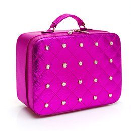 Wholesale Patent Professional - Wholesale- Women High Quality Professional Mirror Makeup Organizer Patent Leather Cosmetic Case Travel Storage Bag Large Capacity Suitcase