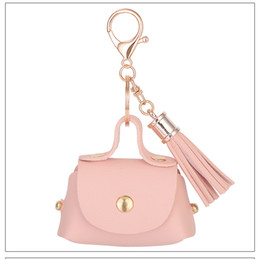 Wholesale Moon Candies - New 5 Colors Candy Color Mini Handbag Pendant Tassel Wallet Purse Car Bag Ornaments Girls Gift Key Chains Jewelry