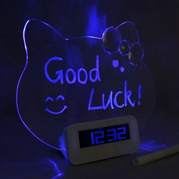 Wholesale Antique Trade - Kitty Cat luminous message board electronic clock silent fluorescent LED alarm clock idle creative foreign trade supply