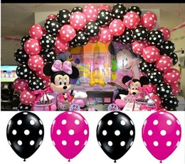 Wholesale Balloons Latex Printing - 50pcs Polka Dot Balloons 12 Inch Premium Black and Berry Pink with All-Over Print White Dots latex balloons