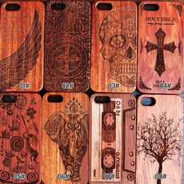 Wholesale Blue Grass Covers - For Apple iphone x case 8 7 6 5 8plus 6s 7plus 6plus Durable cell phone case cover woodcarving Pattern Natural Wooden PC Carved Wood Cases