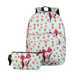Wholesale Wholesale Cluth Bags - Wholesale- 2 PCS New Fashion Women Nylon Backpack 3D Smile Cartoon Fruit and Flower Printed Backpack Travel School Bag with Small Cluth Bag