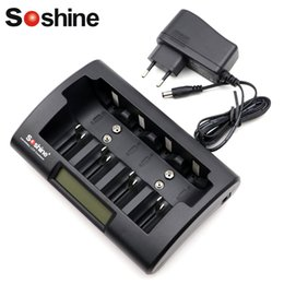 Wholesale Nimh C - Soshine LCD Display Intelligent fast quick Charger for Ni-Mh NiMh AA AAA Rechargeable Battery C size D size 9V battery with 12V DC adapter