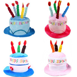 Wholesale Birthday Candle Hat - Wholesale- Pink Blue Birthday Cake Cap Hat Cake Candles Caps Kids Adults Head Decoration Birthday Party Supplies