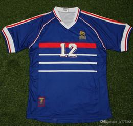 Deutschland 1998 Frankreich # 10 ZIDANE # 12 HENRY Retro Fußball Trikots Home Top Thai 3AAA Customzied Name Nummer Zidane Henry Fußball Uniformen Fußball Trikots cheap soccer uniforms numbers Versorgung