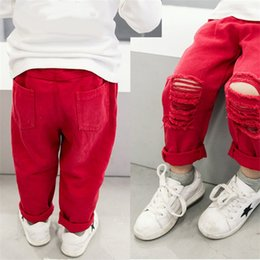 Wholesale Baby Boys Jeans - 2017 new children boys girls Denim Pants fashion kids red Holes jeans baby Trousers C2049