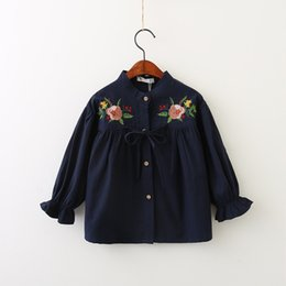 Wholesale Girls Long Sleeve Ruffle Tee - Everweekend Girls Floral Embroidered Ruffles Tees Cute Baby Bow Trumpet Sleeve Clothes Sweet Kids Western Fashion Autumn Tops