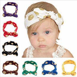 Wholesale Rabbit Stick - Baby Headband Gold Polka Dot Headbands Infants Bowknot Printed Hair Bands Kids Rabbit Ears Headwraps Bandanas Baby Hair Accessories YYA242