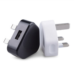 Wholesale Usb Mains Plug - high quality UK 3 Pin Mains Charger Adapter Plug 5V 1A UK USB Wall Adapter For Iphone 5S 6 6S 7Plus Samsung S6 S7 Tablet Pc Universal
