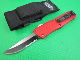 Wholesale Red Pocket Knives - Special Offer Red A16 Troodon Auto Tactical knife Single Edge serrated blade Hunting EDC Pocket Knife Survival Knife with nylon bag