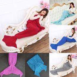 Wholesale Quilt Crochet - 180x90 cm Adults Mermaid Tail Sofa Blankets Warm Crochet Blanket Sleeping Bags Bedding Wrap 16 Colors