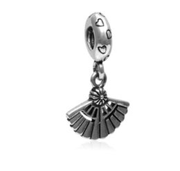 Wholesale Ethnic Charms Beads - Fits Pandora Charm Bracelet S925 Ale Sterling Silver Fan Pendant Ethnic Style Beads Charms For European Snake Chain Fashion DIY Jewelry Wome