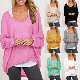Wholesale Sweater Blouse Shirt - Loose Blouses Slim Shirts Knit Sweater Fashion Irregular Tops Cotton Long Sleeve Baggy Jumper Batwing Casual Pullover Women Clothing D549