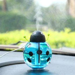 Wholesale Usb Motion - IN stock USB Portable Ultrasonic Beetle Humidifier Air Purifier Nebulizer DC 5V ABS Bottle Lamp LED Home night light Office Car Humidifier