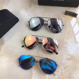 Wholesale European Sunglasses Brands - Simple fashion European style brand designer sunglasses% 100 anti - UV glasses high - quality Sunshade glasses with box