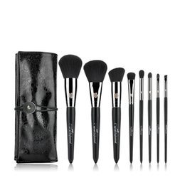 Wholesale Ferrule Kit - Professional 8Pcs Makeup Brushes Set Copper Ferrule Powder Foundation Eyeshadow Eyeliner Lip Brush Tool With Pu Case