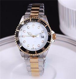 Wholesale Battery Clock Movements - 40mm automatic watch calendar luxury watch fashion gold and silver bracelet alloy steel movement quartz master clock couple watch