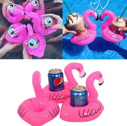Wholesale Cell Phone Items Wholesalers - Flamingo Inflatable Drink Holders Mini Bath Drink Can Cell Phone Holder Floating Toy Pool Can Party Holder OOA2542