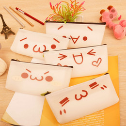 Wholesale Silicone Purse Coin Card Holder - Cartoon Emoji Face Silicone Pencil Bag Case Travel Passport Credit Card ID Holder Coin Purse Storage Bag Pouch Gift For Kids ZA3684