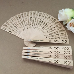 Wholesale Personalized Wedding Fans - Chinese fragrance wood fan wedding hand fan with personalized bride & groom's name and wedding date