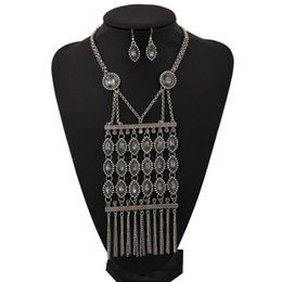 Wholesale Multi Layer Long Necklaces - Long Tassel Jewelry Sets Multi Layer Black Acrylic Hollow Vintage Behomian Circle Resin Pendant Necklaces for Women Fashion Silver Plated